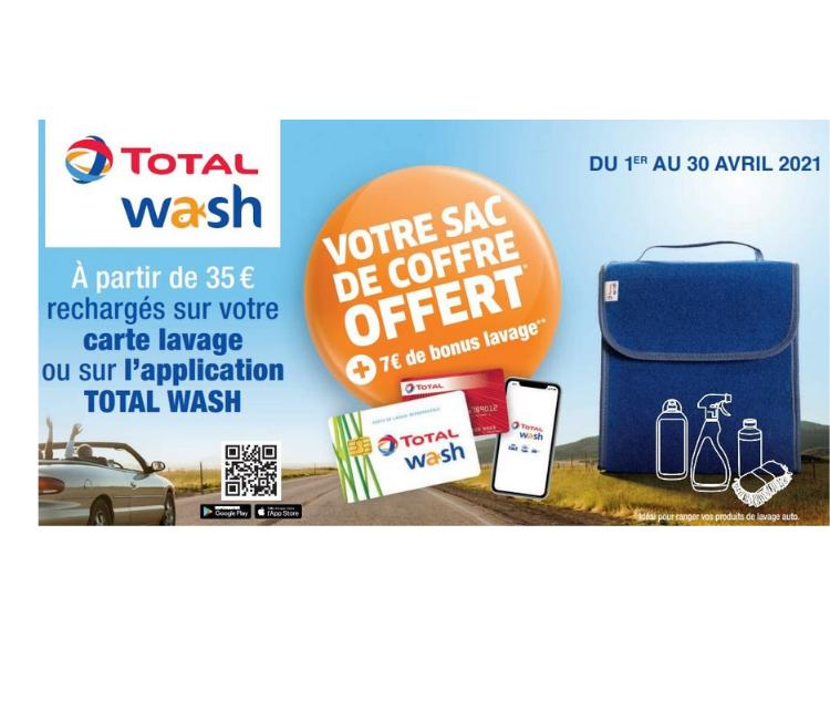 TOTAL WASH vous offre un sac de coffre – Offre avril 2021